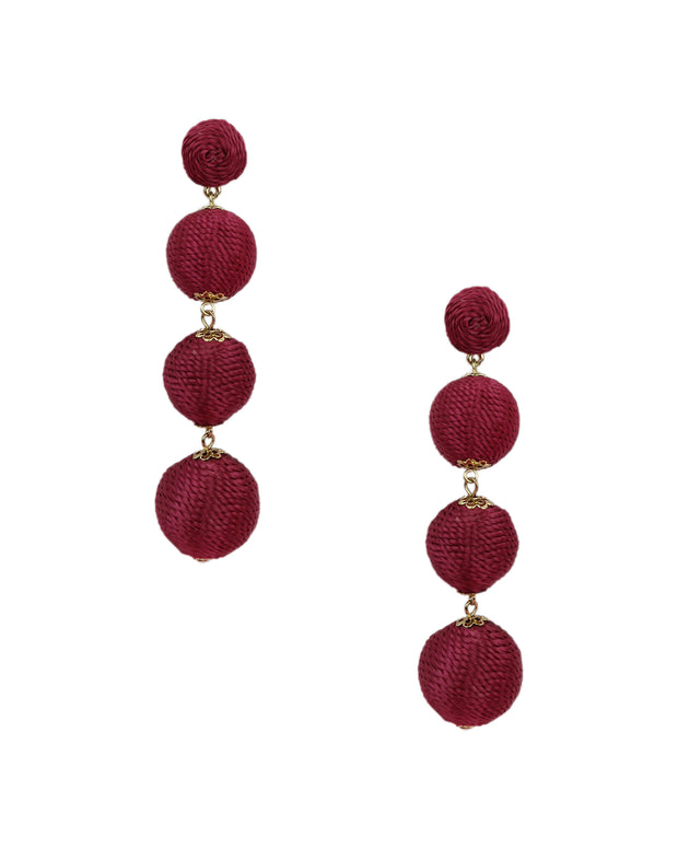 BLAIZ | 227 | Burgundy Silk Thread Wrap Bobble Earrings
