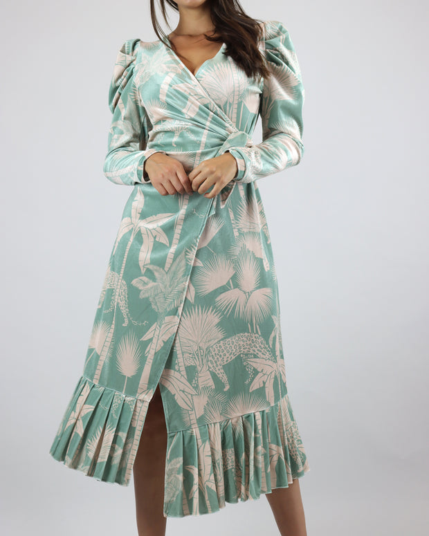Mint Wrap Midi Velvet Dress