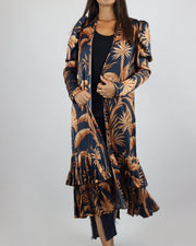 Navy Orange Banana Leaves Pleated Kimono