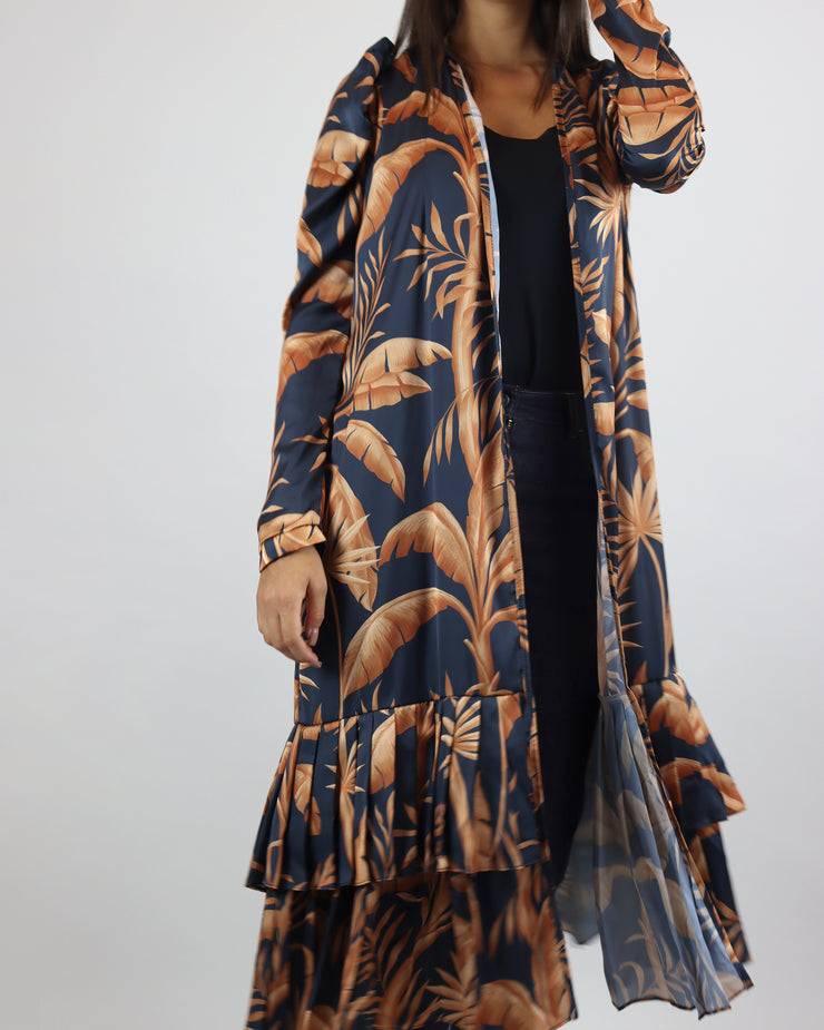 LOBO ROSA | BLAIZ | Navy Orange Banana Leaves Pleated Kimono