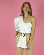 SKAZI | BLAIZ | WHITE ONE SHOULDER CROP TOP