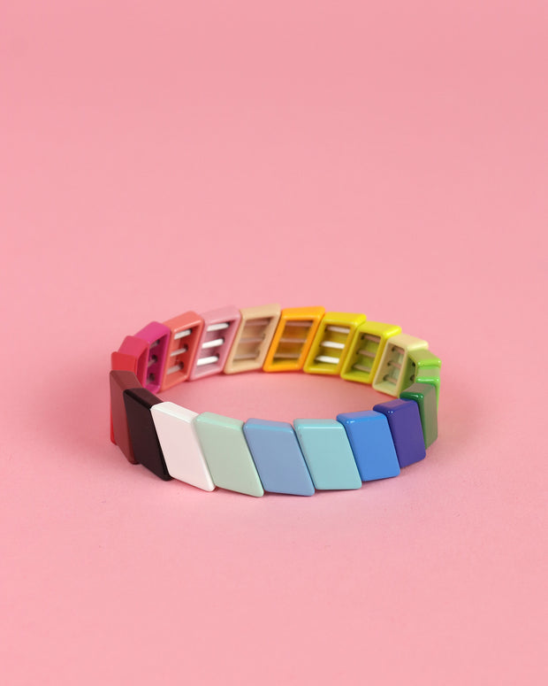 Rainbow Striped Enamel Bracelet
