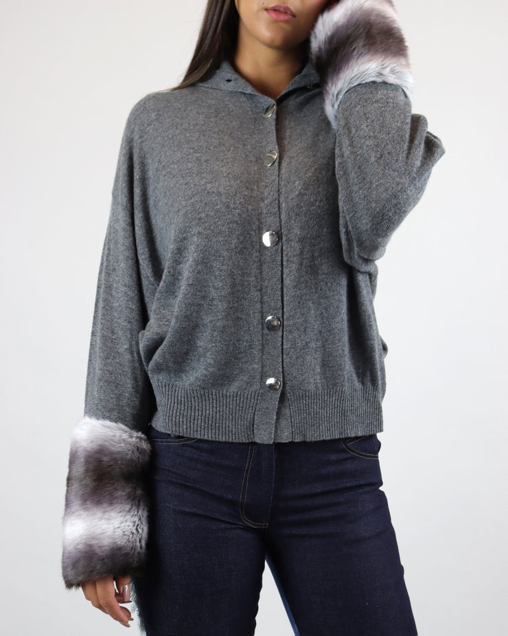 IZAAK AZANEI | BLAIZ | Grey Buttoned Faux Fur Cuff Cardigan