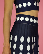 Navy Polka Dot Skirt Set