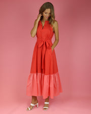 Flamingo Pink & Coral Hera Sleeveless Dress