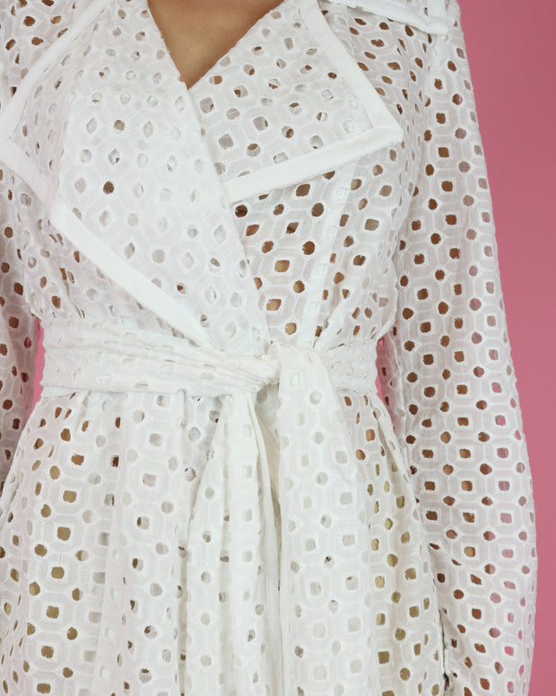 White Lace Belted Jacket