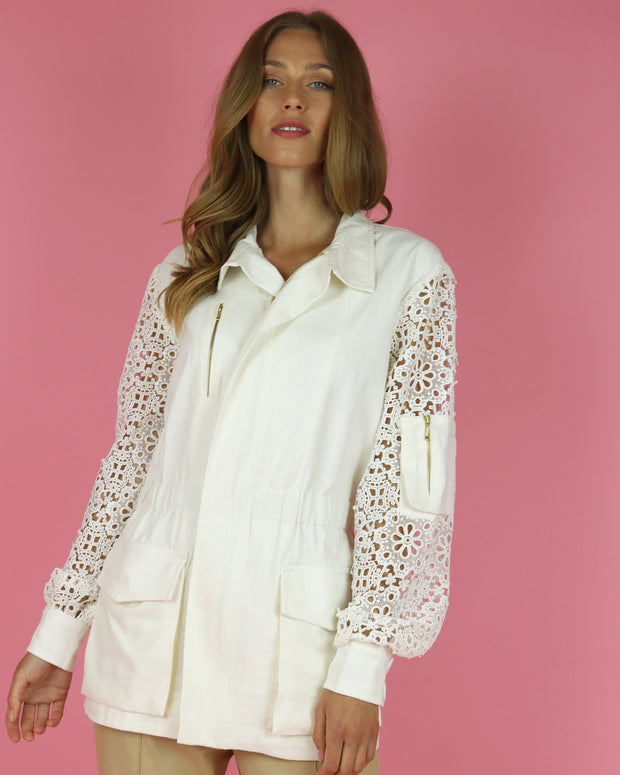 White Lace Sleeve Jacket