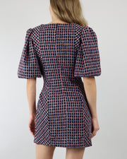 C/MEO COLLECTIVE | BLAIZ | Ink Check Precise Mini Puff Sleeve Square Neckline Dress