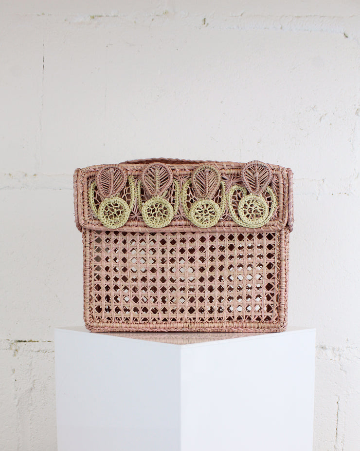 Blush Pink Woven Box Bag
