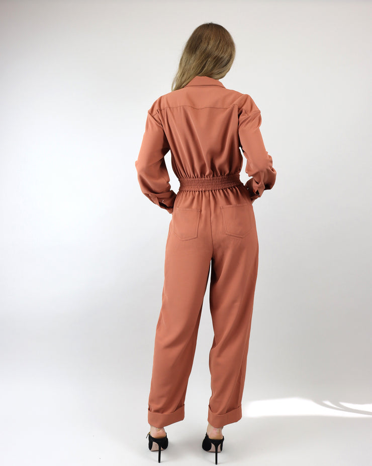 C/MEO COLLECTIVE | BLAIZ | Nutmeg Caprice Minimalist Full Zip Up 1970s Jumpsuit