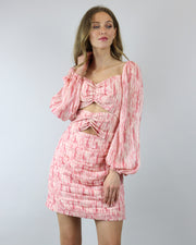 C/MEO COLLECTIVE | BLAIZ | Pink Burnout Puff Sleeve Ruched Bow Mini Whirl Abstract Print Dress