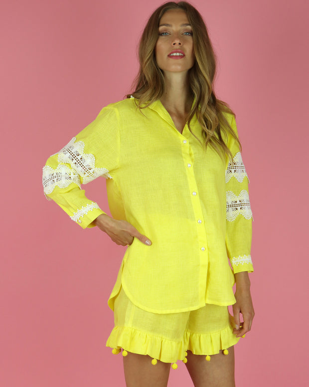 Yellow Costa Calida Linen Shirt