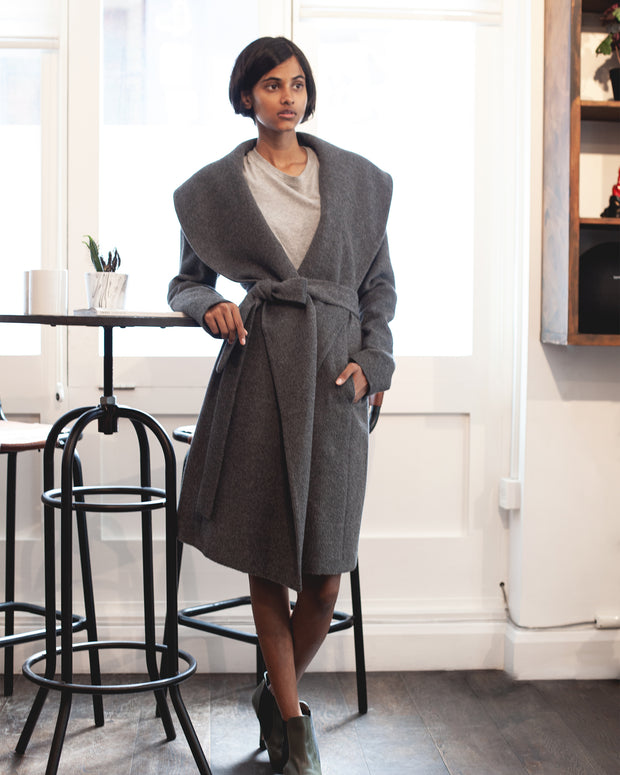 Grey Sienna Alpaca Wool Coat