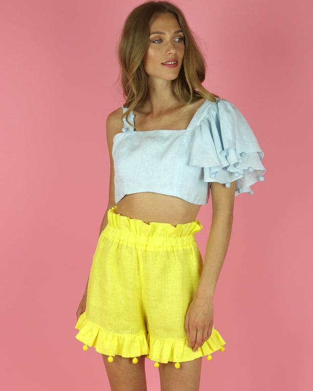 Yellow Terraza Linen Shorts