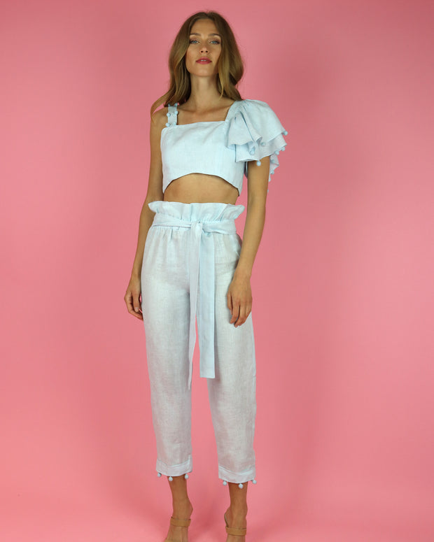 Sky Blue Allora Linen Pants