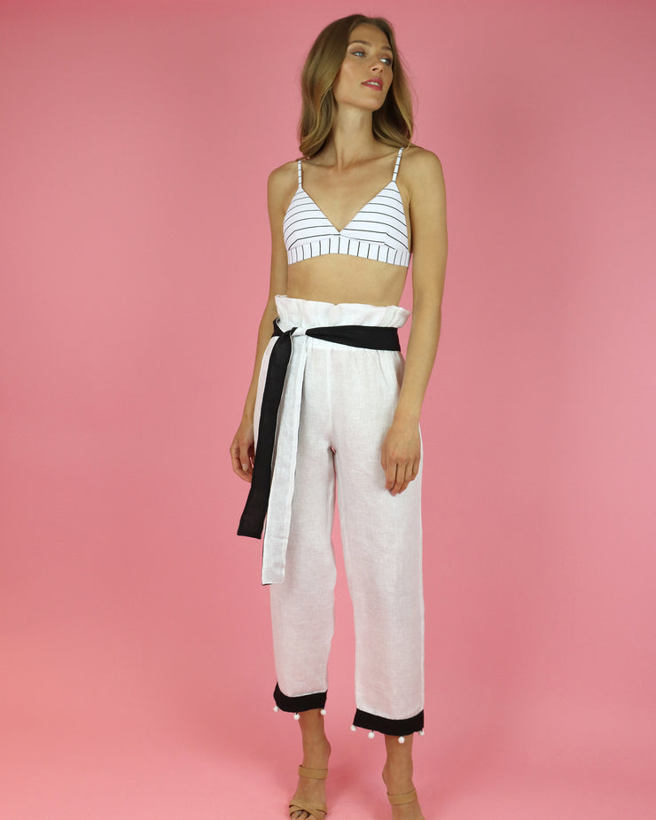 White Paperbag Trousers