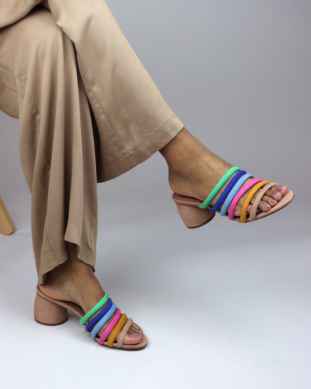 AREZZO | BLAIZ | Multi Coloured Strappy Mules Block Heels Suede Finish Cream Beige
