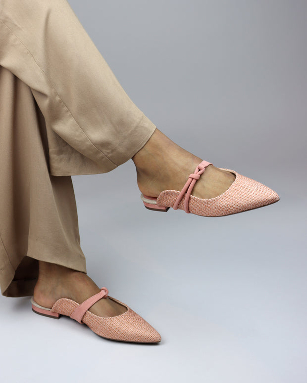 Peach Canvas Pointed Mules