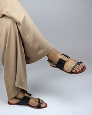 Black Leather Buckle Sandals