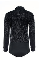 Load image into Gallery viewer, Black Sequin Long Sleeve Bodysuit