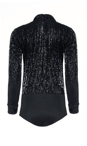 IORANE | BLAIZ | Black Sequin Long Sleeve Bodysuit
