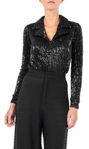 Black Sequin Long Sleeve Bodysuit