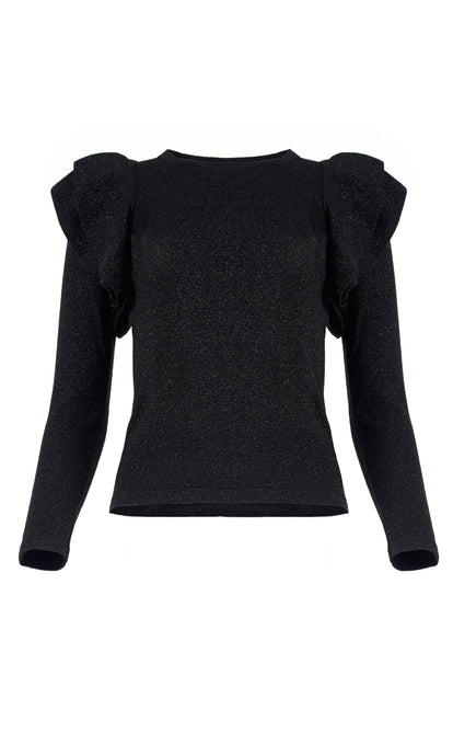 Black Lurex Frill Shoulder Sweater