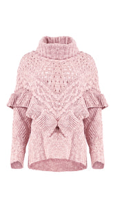 Ruffled Knit Turtleneck Sweater