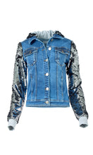 Load image into Gallery viewer, Silver Sequin Denim Jacket