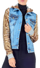 Load image into Gallery viewer, Gold Sequin Denim Jacket
