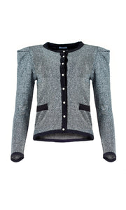 Silver Sparkly Pearl Button Cardigan