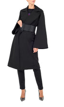 Load image into Gallery viewer, Black Belted Trench Coat
