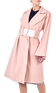 Blush Pink Belted Trench Coat