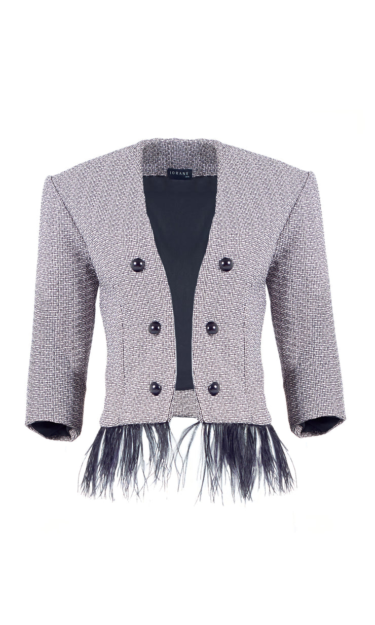 Tweed Feather Trim Blazer