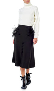 Black Feather Trim Midi Skirt