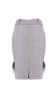 Tweed Feather Trim Skirt