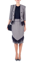 Load image into Gallery viewer, Tweed Feather Trim Skirt