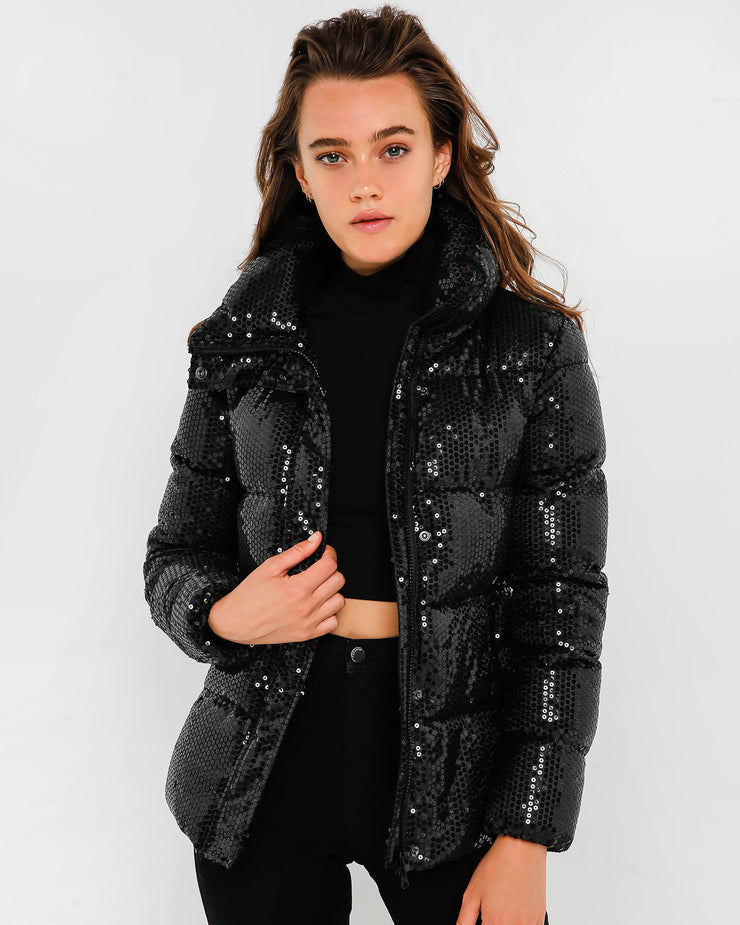 Black Sequin Puff Jacket
