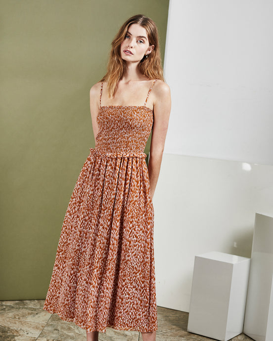 Copper Silk Smock Midi Dress