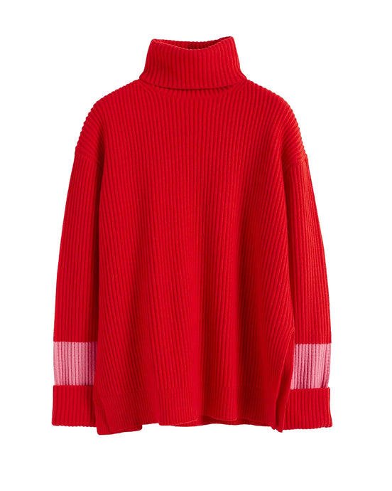 Red Oversized Roll Neck Jumper