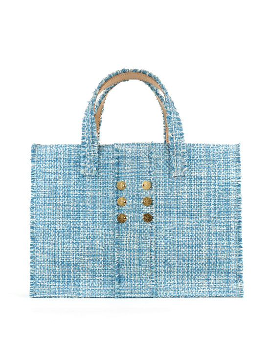 Baby Blue Tweed Tote Bag