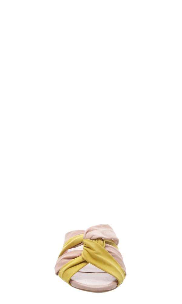 AREZZO | BLAIZ | Yellow Nude Knot Leather Sandals Suede Flats Plaited Pink