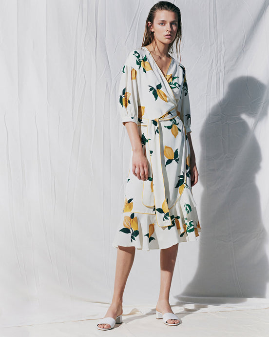 Ivory Lemon Silk Wrap Dress