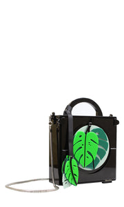 Black & Green Plant Acrylic Clutch