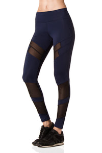Navy Leggings with Mesh Panel