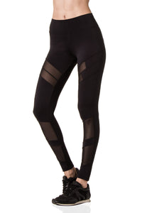 Black Leggings with Mesh Panels