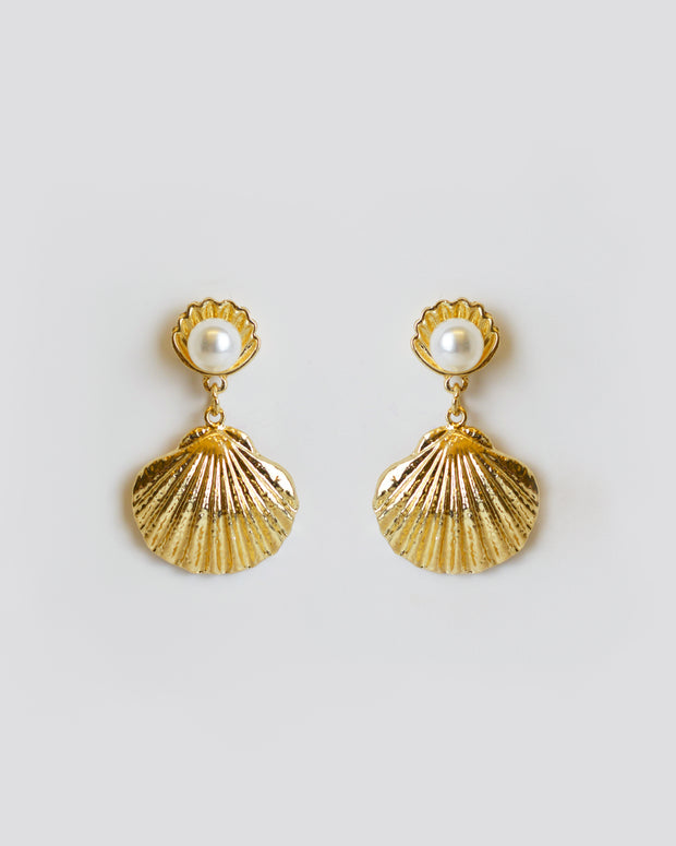 227 | BLAIZ | Gold Shell Pearl Earrings