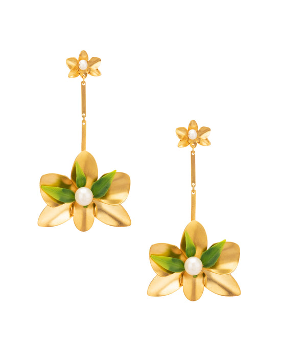 Hanging Orchid Earrings