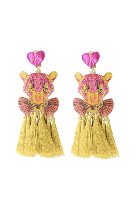 Pink & Gold Panther Earrings