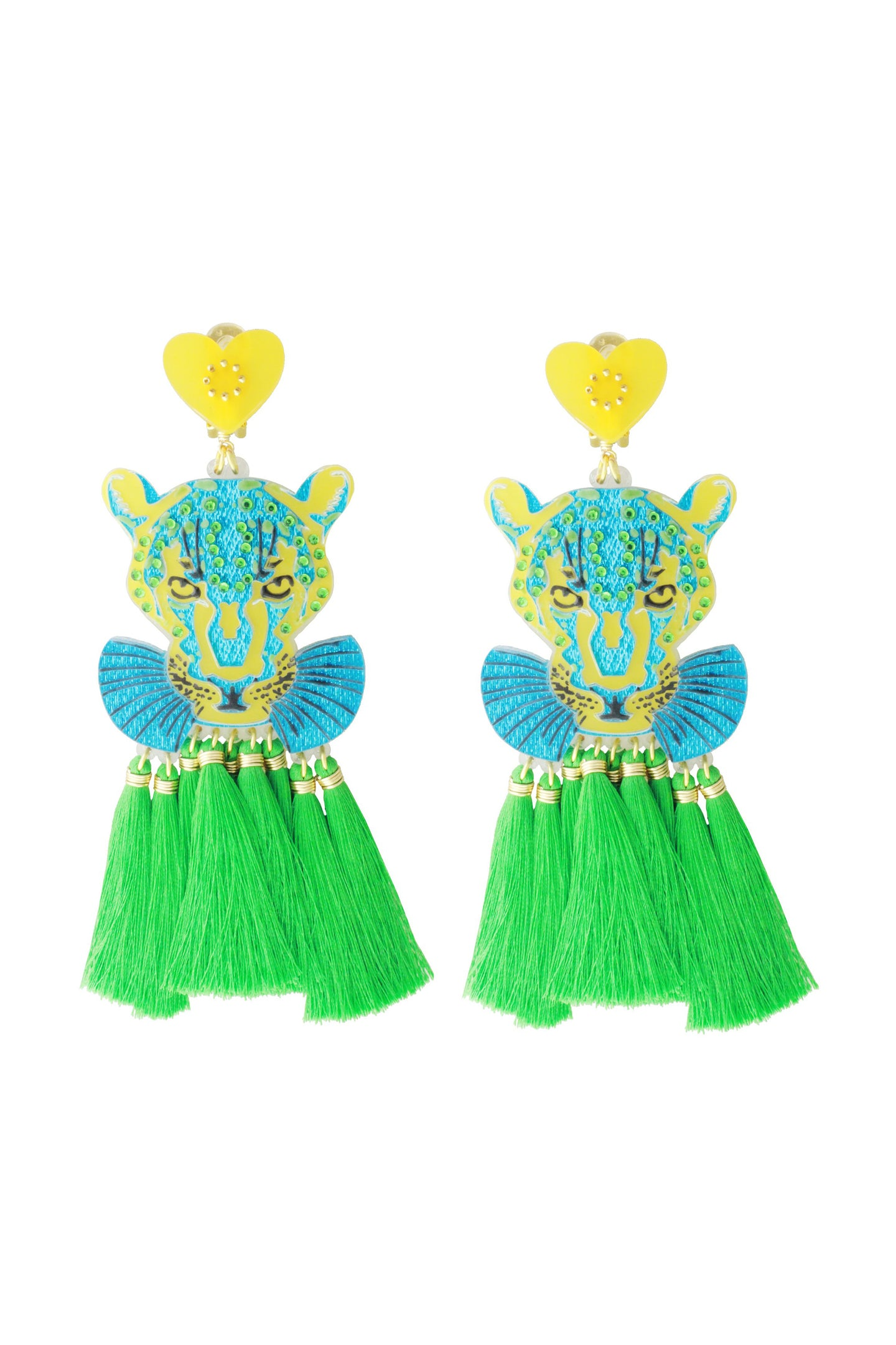 Blue & Green Panther Earrings